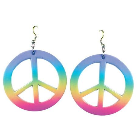 - Womens Hippie Peace Sign Rainbow Tie Dye Earrings Costume, Includes: Peace Sign Earrings By Forum Novelties - Hippie Earrings