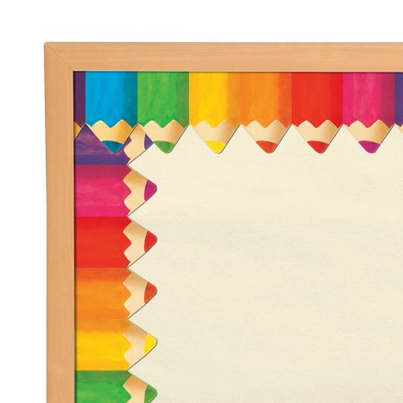 IN-13710618 Jumbo Colored Pencil Bulletin Board Borders Per Dozen - Printable Bulletin Board Borders