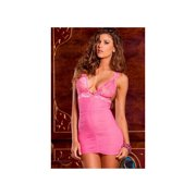 Ruched Mesh & Lace Chemise Set 512032RR Pink