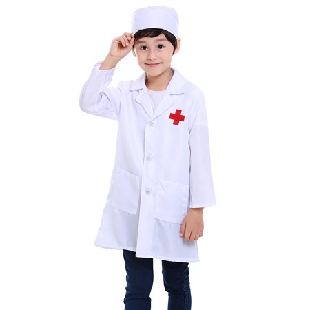 TopTie Kid's Lab Coat with Cap, For Kid Nurse or (Children's Nurse Costume Uk)