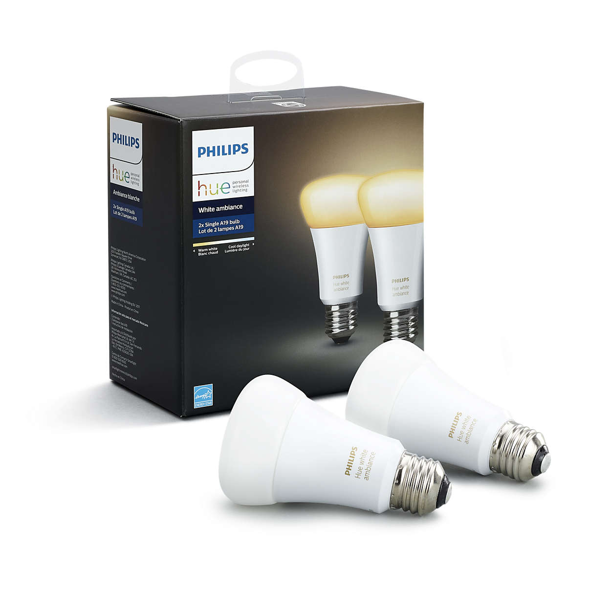 Philips Hue White Ambiance Smart A19 Light Bulb, 60W Equivalent, Hub Required, 2 Bulbs