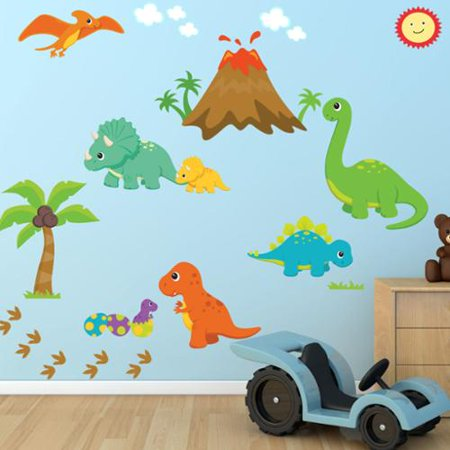 Decal the walls dinosaur fabric wall decal 100 percent for Nice ideas dinosaur decals for walls