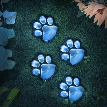 4 Solar Dog Animal Paw Print Light Garden Statue Lantern LED Path 3