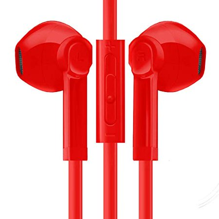 Headphones/Earbuds Compatible with Smart Device, Cell Phone, Tablet, MP3 MP4 Active Noise Isolation Stereo Sound in Ear Buds Mic and Volume Control, Wired 3.5mm Ergonomic Comfort Fit (Red)](Halloween Noises Mp3)