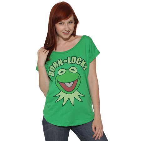 St Patrick's Day T-shirt Kermit the Frog Born Lucky Juniors Top