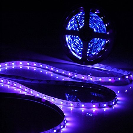 TSV UV/Ultraviolet Black Light LED Strip Light Waterproof IP65, Flexible LED Lighting String, 300 Units 3528 LEDs 5 meters - Black String Lights