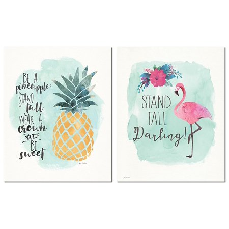 Tropical Inspirational Watercolor Flamingo and Pineapple