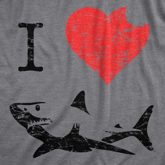 07c4279c Crazy Dog Funny T-Shirts - Women's I Love Sharks T Shirt Classic ...