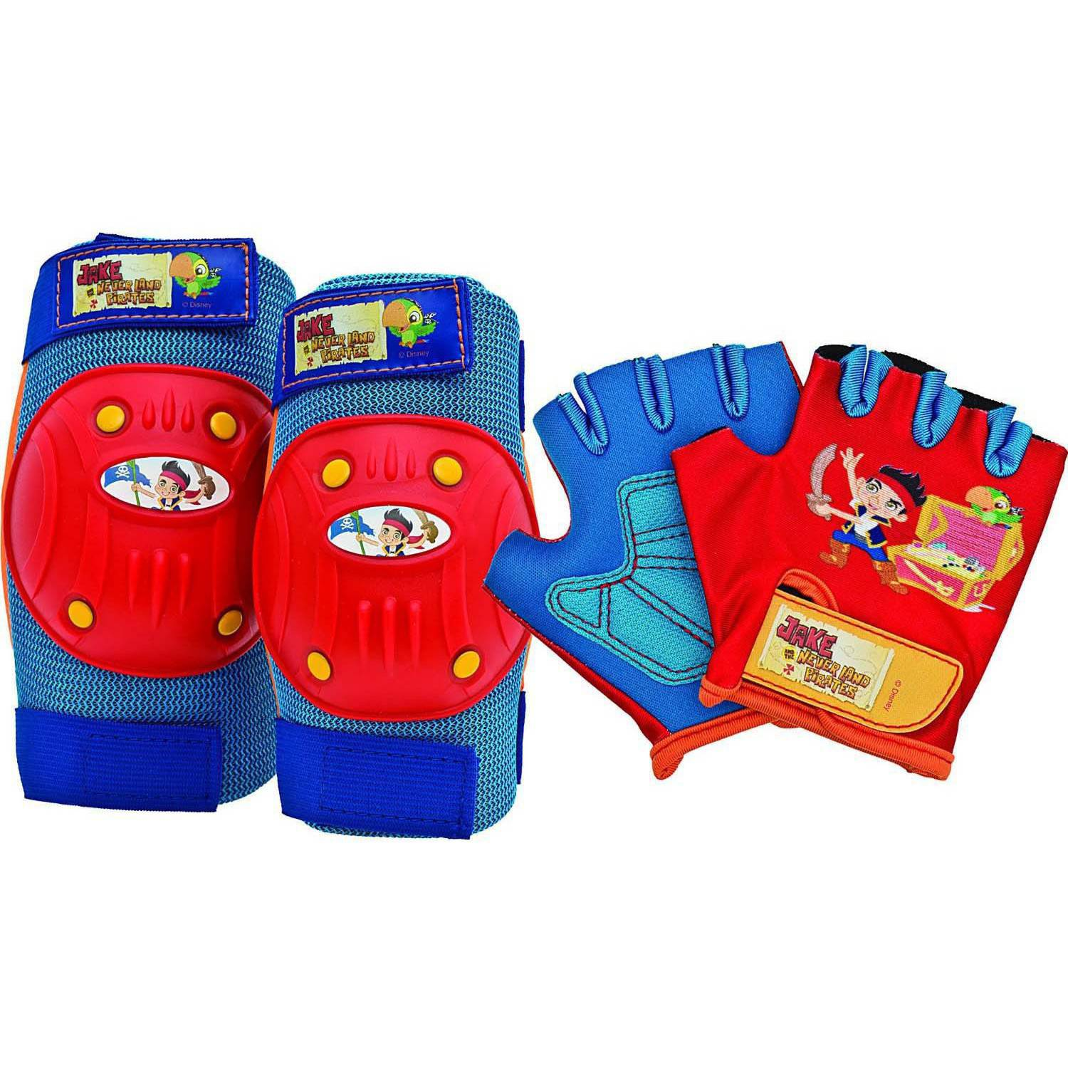 Bell Sports Disney Jake and the Neverland Pirates Protective Pad and Glove Set, Blue/Red