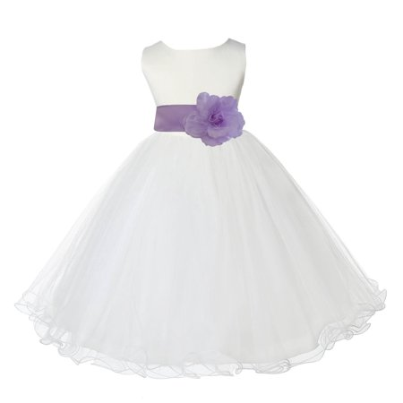 Ekidsbridal Satin Ivory Lilac Tulle Rattail Christmas Bridesmaid Recital Easter Holiday Wedding Pageant Communion Princess Birthday Clothing Baptism 829T size 12-18 month Flower Girl Dress