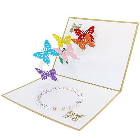 DL furniture - Pop Up Greeting Card - Butterfly Flowers Cut Design 3D Paper Greeting Thank You Card Handmade Envelope for kids men women | Christmas Eve Halloween Thanksgiving - Kids Halloween Cards