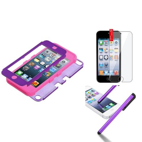 Insten Grape/Pink TUFF Hybrid Phone Hard Case Cover For Apple iPod touch 6 6G 5 5G  Protector Pen