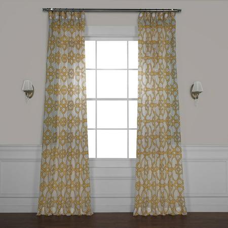 Exclusive Fabrics  Sea Glass Blue Printed Faux Linen Sheer Curtain Panel Linen Drapery Fabric