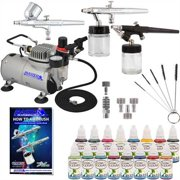Pro Master Airbrush System Kit with 3 Airbrushes, 16 Color Water-Based Face & Body Art Paint Set, Air Compressor, Tattoo