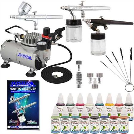 Pro 3 Airbrush Face Paint   Body Art System 16 Color Kit Air Compressor Tattoo