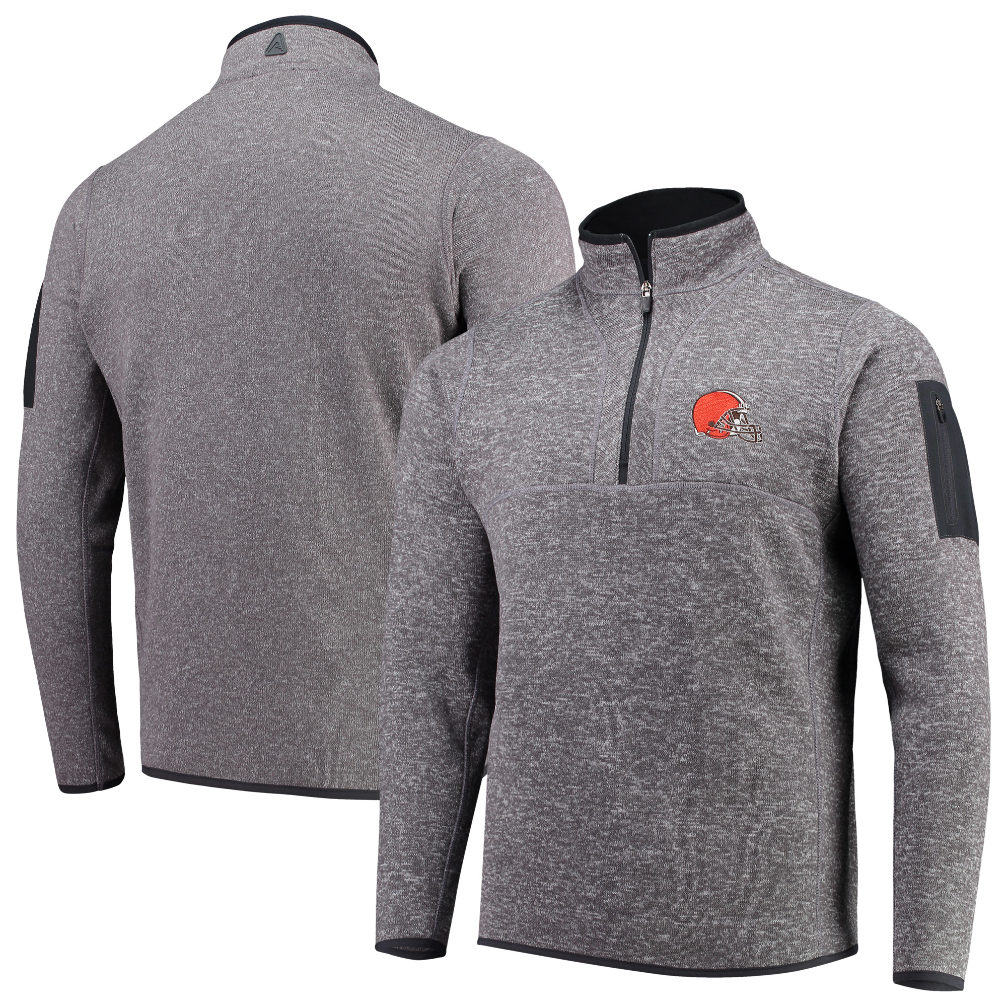 Cleveland Browns Antigua Fortune Quarter-Zip Pullover Jacket - Charcoal
