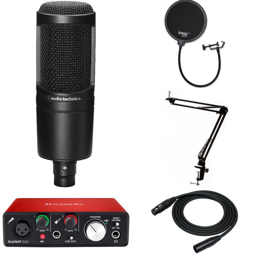 Audio-Technica AT2020 Microphone + Focusrite Scarlett Solo USB Audio Interface (2nd Gen) + Accessories Bundle