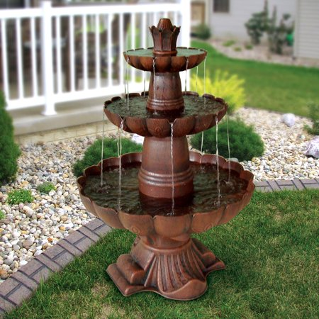 Ball Outdoor Fountain - Alpine Valencia 3-Tiered Outdoor Fountain