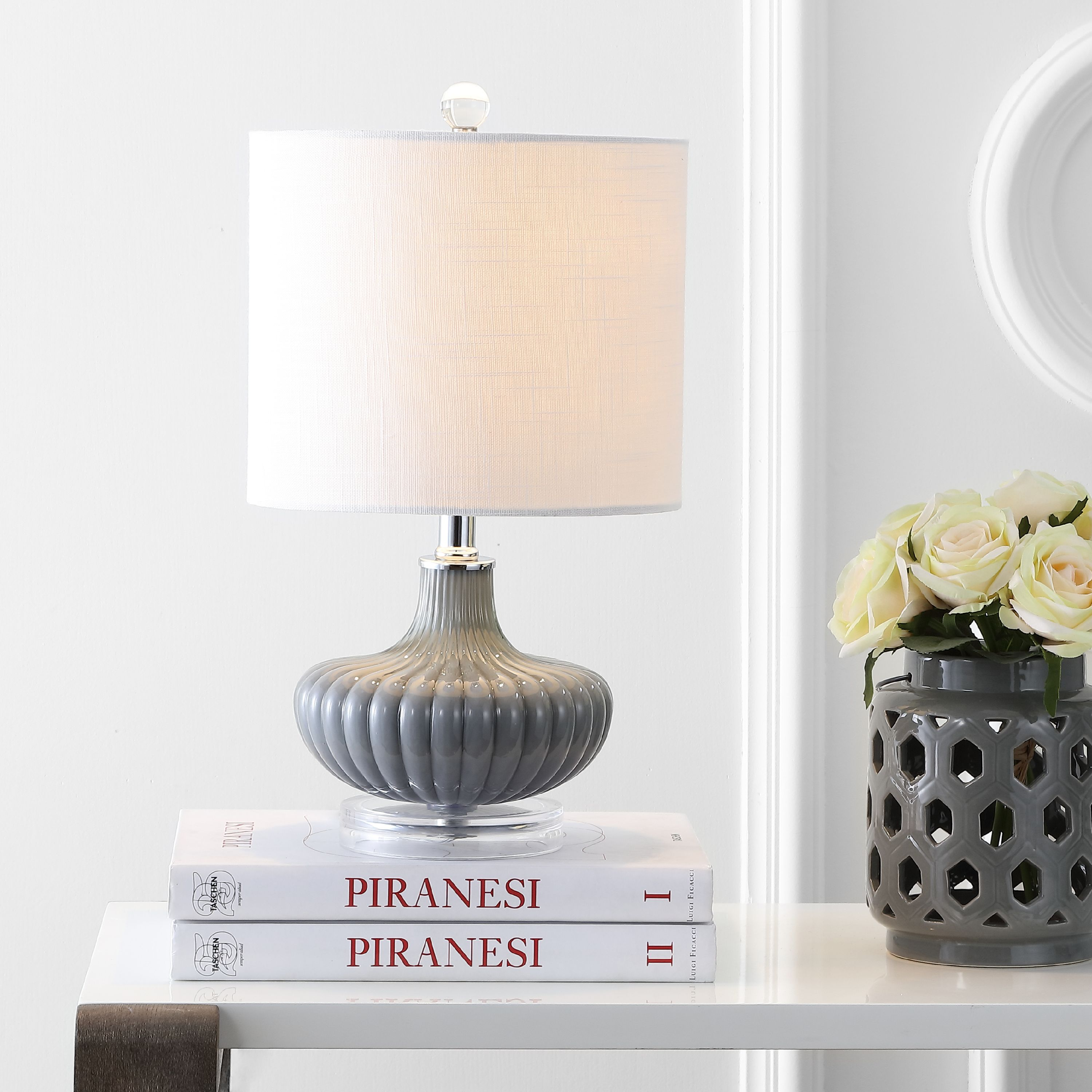 "Kamille 18"" Glass and Lucite LED Table Lamp, Gray"