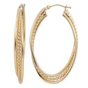 Fremada  10k Yellow Gold Overlapping Oval Hoop Earrings