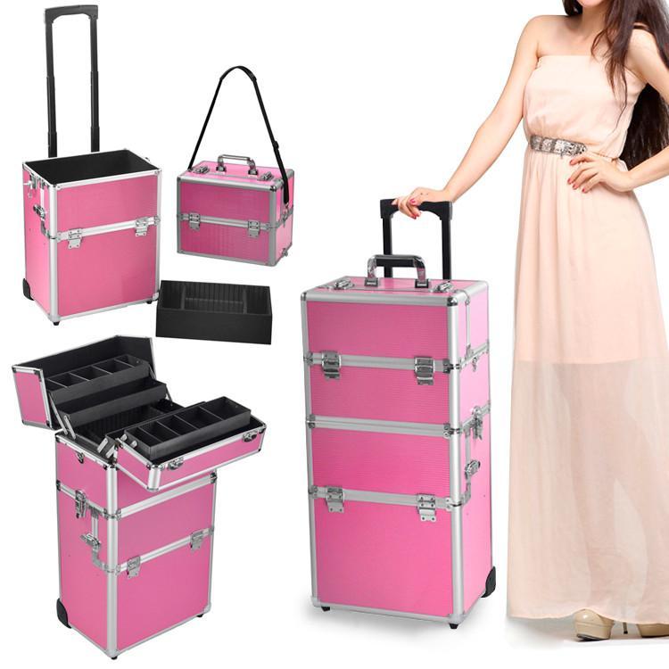 Yaheetech 2-wheel 3-in-1 Professional Multifunction Artist Rolling Trolley Makeup Beauty Train Case Cosmetic Organizer W/shoulder Straps (Pink)