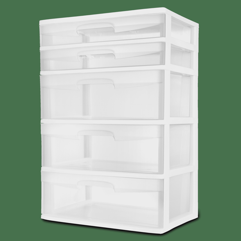 Sterilite 5 Drawer Wide Tower White
