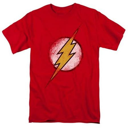 Jla-Destroyed Flash Logo Short Sleeve Adult 18-1 Tee, Red - 2X - image 1 of 1