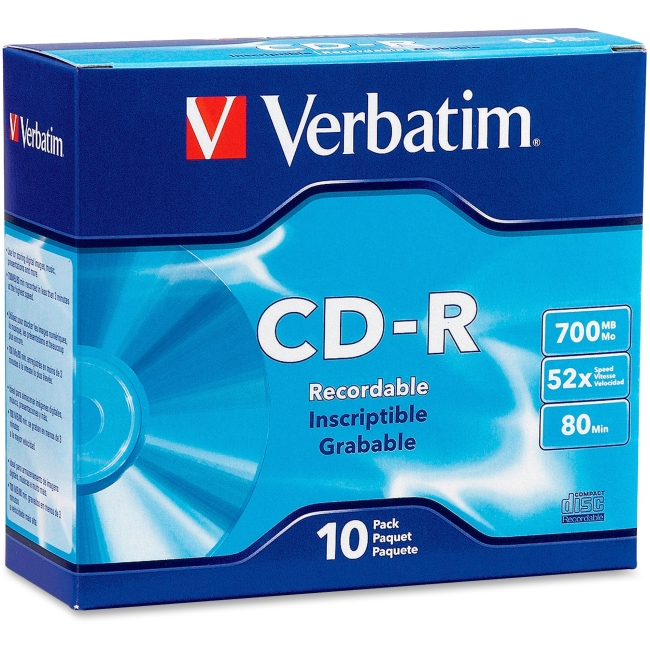 Verbatim CD-R 700MB 52X with Branded Surface 10pk Slim Case 94935