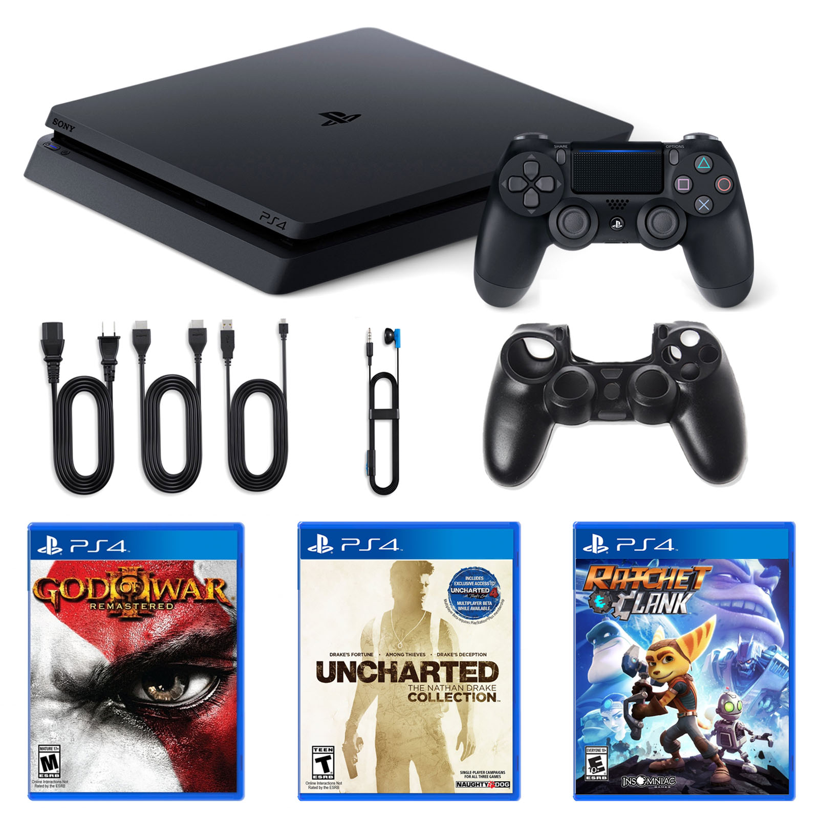 Playstation 4 1TB Core Console with Ratchet and Clank, Nathan Drake and God of War Games