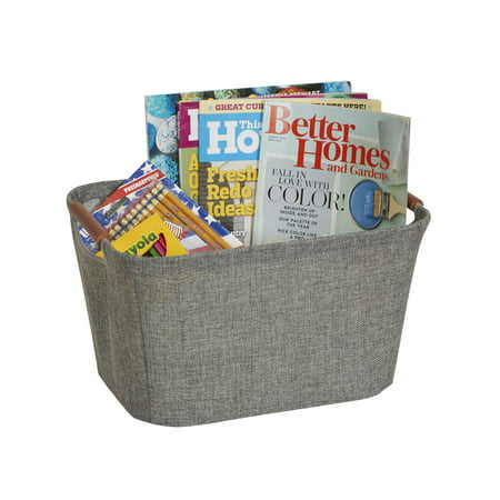Household Essentials Small Soft-Side Tapered Storage Bin with Wood Handles, Gray (Tapered Storage)