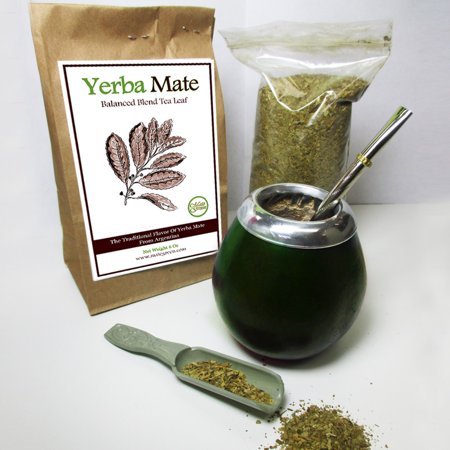 4Pc Argentina Yerba Mate Tea Gourd Cup Straw Bombilla 6oz Leaf Bag Kit Pack 4200 - Tea Cup Display