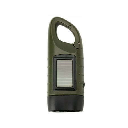 Outdoor Multifunctional LED Solar Power Mini Emergency Hand Crank Dynamo Flashlight Rechargeable Lamp Charging Powerful For Safety Survival Gift ()