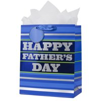 Hallmark Father's Day Large Gift Bag with Tissue Paper (Blue Stripes)