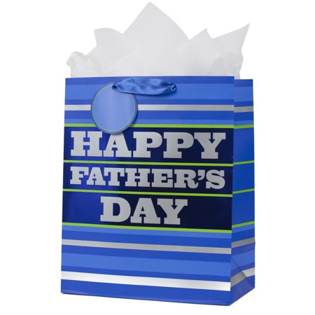 Hallmark Father's Day Large Gift Bag with Tissue Paper (Blue Stripes) - Bridesmaid Gift Bags