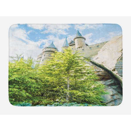 Wizard Bath Mat, Witchcraft School and Wizard Castle in Woods Replica in Japan Picture Print, Non-Slip Plush Mat Bathroom Kitchen Laundry Room Decor, 29.5 X 17.5 Inches, Green Blue Beige, Ambesonne