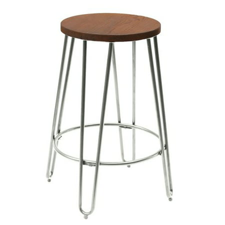 Quinn Round Wood-Top Backless Counter Stool