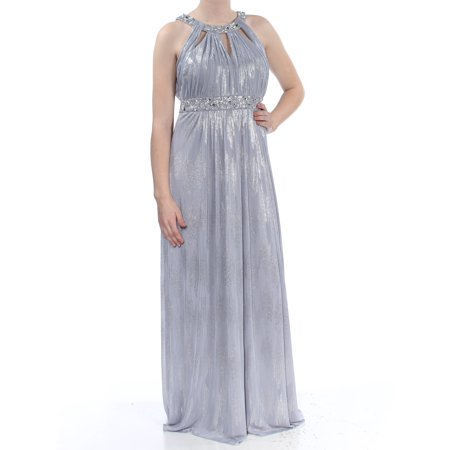 JESSICA HOWARD Womens Gray Metallic Halter Sleeveless Halter Full-Length Empire Waist Formal Dress  Size: 6 Jessica Howard Formal Dresses