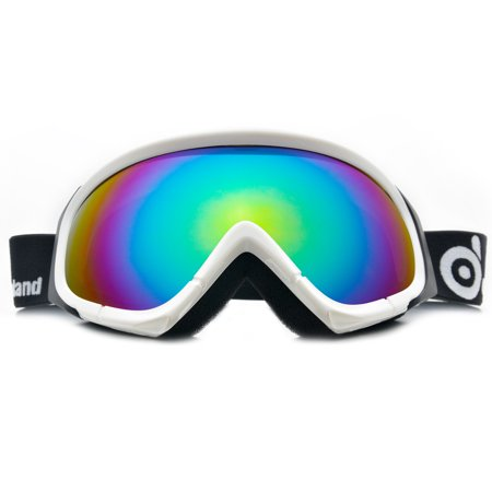 Spherical Series Goggles - ODOLAND Anti-Fog Ski Goggles Snowboard Goggles for Unisex Adult w/ Double Spherical Lens White