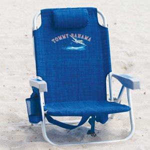 Tommy Bahama 2017 Backpack Cooler Beach Chair with Storage Pouch and Towel Bar (Blue Weave)