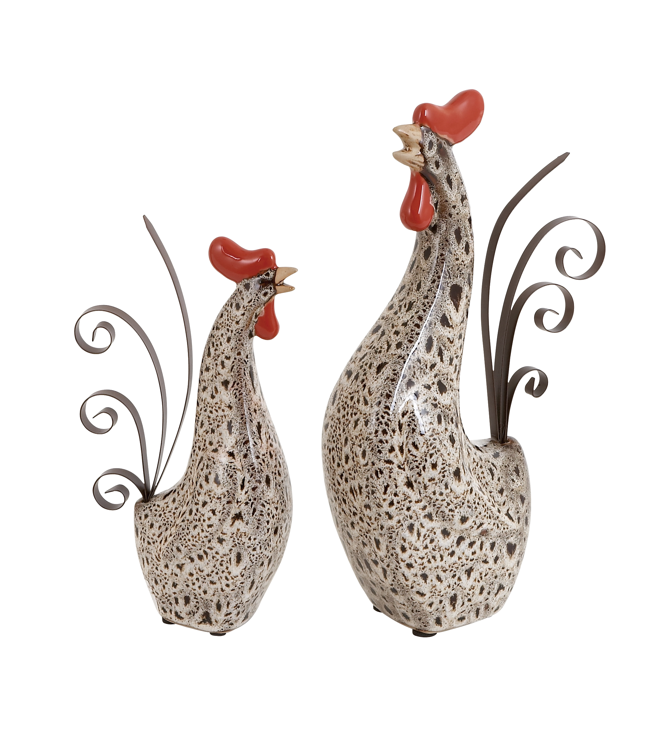 Ceramic Metal Roosters Spotted Black Pattern Head Tail Set of 2 Décor 40841
