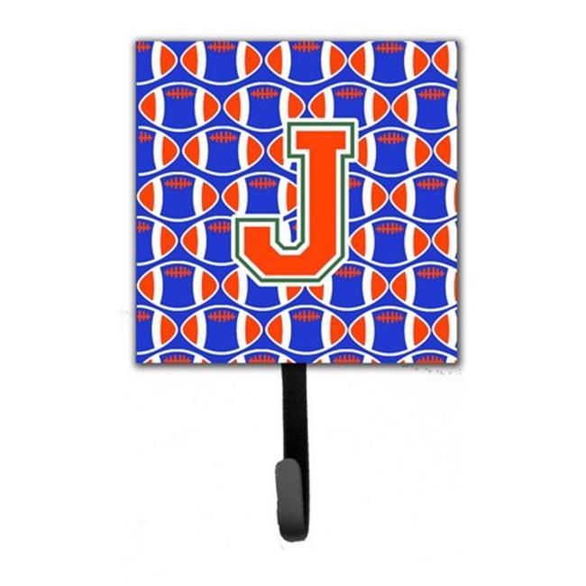 Carolines Treasures CJ1083-JSH4 Letter J Football Green, Blue & Orange Leash or Key Holder - image 1 de 1