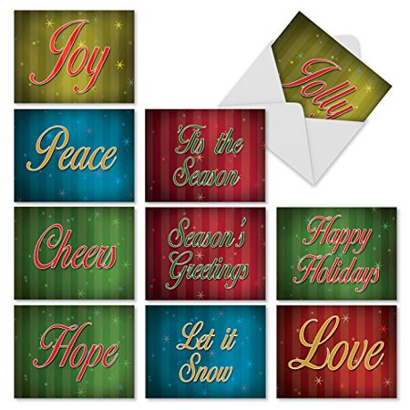 'M3263 MERRY MESSAGES' 10 Assorted All Occasions Greeting Cards Featuring Holiday Words And Greetings with Envelopes by The Best Card Company](Halloween Greetings Words)