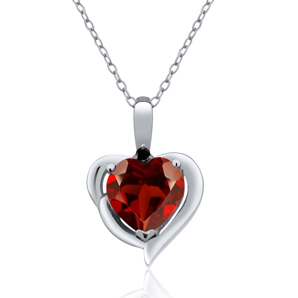 2.02 Ct Heart Shape Red Garnet Black Diamond 925 Sterling Silver Pendant
