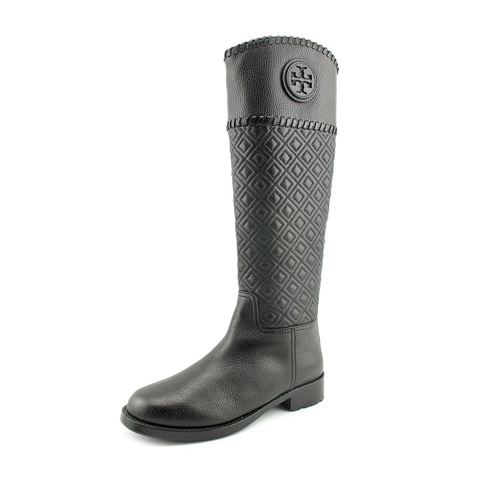 Tory Burch Marion Riding Boot Women  Round Toe Leather Bl...