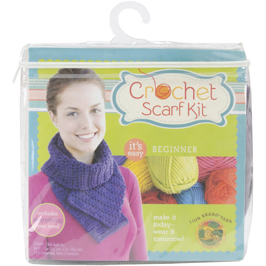 Beginner Crochet Scarf Kit-Purple