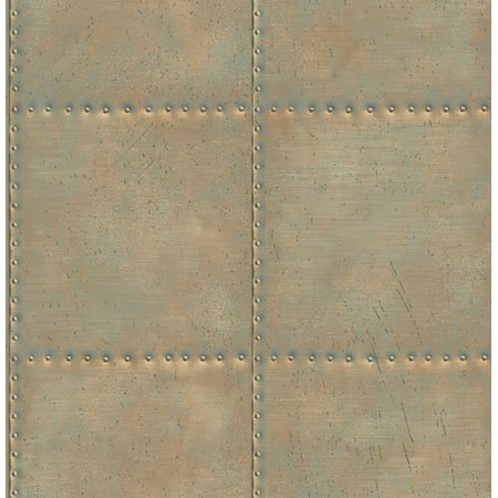 A-Street Prints by Brewster 2701-22344 Reclaimed Sheet Metal Turquoise Rivets Wallpaper