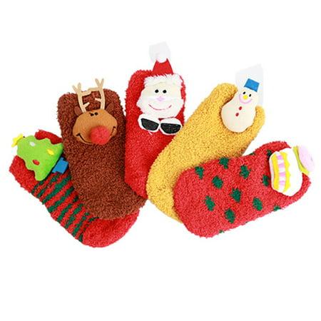 0-2Y Baby Winter Socks Coral Fleece Sock Hosiery Sleep Socks Christmas Gifts ()