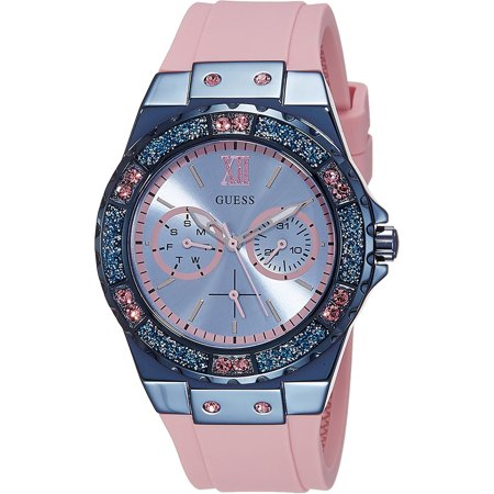 Guess Women's Metallic Blue Tone Watch with Silicone Strap and Crystal Accented Bezel