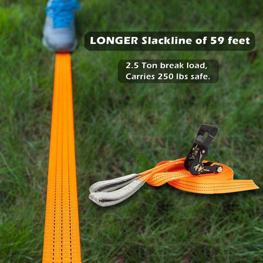 SSLine Slackline Kit Extra Long 65ft Kids Slackline with Training Line Tree Protector Ratchet Protector Arm Trainer and Carry Bag Kids Adults Beginners Outdoor Fun 661lbs Weight Capacity