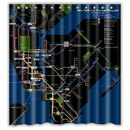Ny Subway Map Shower Curtain.Ganma New York City Subway Map Shower Curtain Polyester Fabric Bathroom Shower Curtain 66x72 Inches